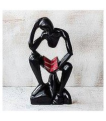 wood sculpture, 'bible reader' (ghana)