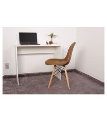 kit escrivaninha 90cm branca + 01 cadeira eiffel botonê - marrom