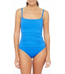 women's la blanca island goddess one-piece swimsuit, size 14 - blue