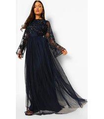 met de hand versierde bruidsmeisjes maxi jurk met lange mouwen, navy