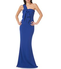 women's js collections one-shoulder crepe gown, size 12 - blue
