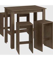 conjunto mesa bancada 4 banqueta alta marrom mã³veis canã§ã£o - marrom - dafiti