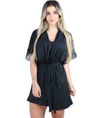 hobby roupã£o bravaa modas robe amarrar lingerie 238 preto - preto - feminino - poliã©ster - dafiti