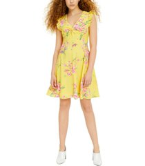 bar iii floral-print fit & flare dress, created for macy's