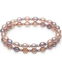 multicolor cultured freshwater pearl (5-6mm) double stretch bracelet in sterling silver
