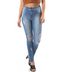 calã§a jeans cigarrete com cinta modeladora - azul/jeans - feminino - dafiti