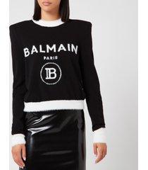 balmain women's cropped fuzzy logo sweatshirt - black - fr 42/uk14