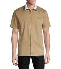helmut lang men's cotton button front shirt - trench - size xs