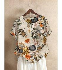 bottone con stampa floreale plus camicetta casual da donna