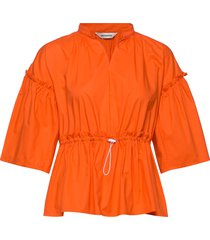 pelargonia solid shirt blouse lange mouwen oranje marimekko
