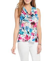women's nic + zoe vibrant flora cowl neck tank top, size xx-large - pink