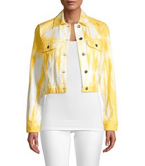 michael kors women's tru tie-dye denim jacket - saffron - size xs