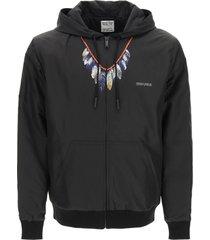 feathers print padded nylon jacket