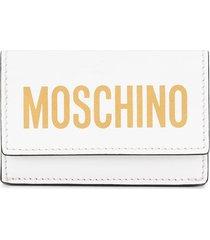moschino snap-button logo print wallet - white