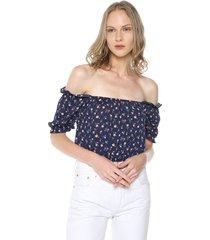 blusa azul-multicolor active