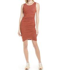 women's treasure & bond ruched sleeveless jersey dress, size xx-large - brown