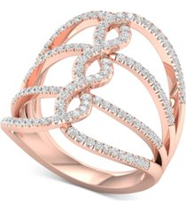 diamond wide loop openwork statement ring (5/8 ct. t.w.) in 10k rose gold