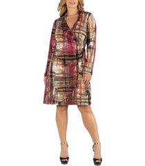 24seven comfort apparel plaid print knee length long sleeve plus size wrap dress
