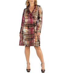 24seven comfort apparel plaid print knee length long sleeve plus size wrap dress
