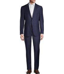 hickey freeman men's milburn iim series regular-fit windowpane wool & cashmere suit - navy - size 42 r