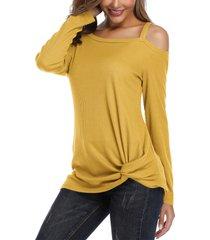 yoins top de punto de manga larga con hombros descubiertos y trenzado amarillo