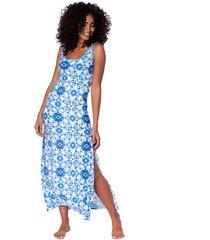 maiolica print long tank dress