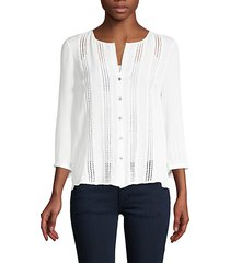 lace-front silk top