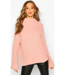turn up cuff high neck fluffy sweater, antique rose