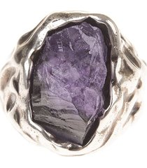woman ring with set amethyst