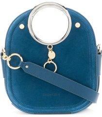 see by chloé bolsa de mão com logo gravado - azul