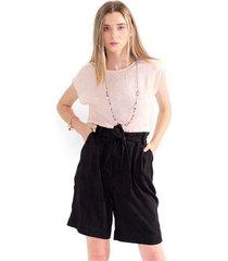 blusa para mujer cuello redondo, manga corta, semitransparente color-rosa-mag-talla-xs