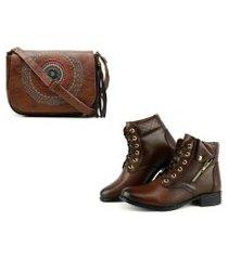 kit bolsa transversal mandala + bota coturno cano curto ziper lateral - alice monteiro  marrom