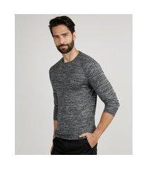 suéter masculino slim em tricô gola careca cinza mescla escuro