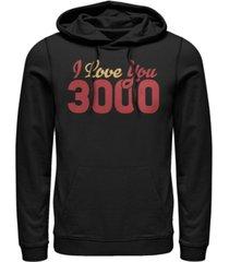 marvel men's avengers endgame i love you 3000 text, pullover hoodie