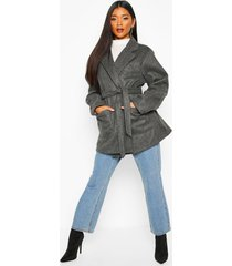 wool look marl belted coat, charcoal
