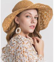 donna solid mesh modello berretto di paglia regolabile confortevole e regolabile