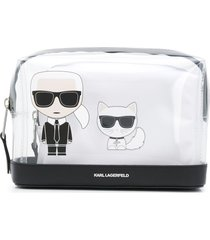 karl lagerfeld k/ikonik transparent make-up pouch - white