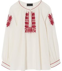 lanette embroidered top in cream with red