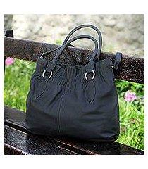 leather shoulder bag, 'deep grey shadow' (peru)