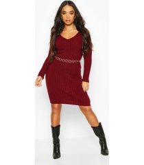 petite v neck knit midi dress, berry