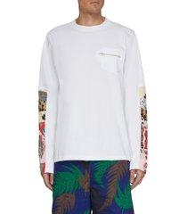 archive print patchwork panel long sleeve shirt