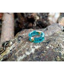 pierścionek z żywicy złoty akwamaryn