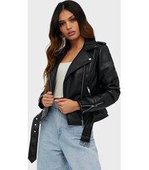 glamorous pu leather biker jacket skinnjackor