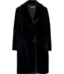 coats woven outerwear faux fur svart esprit collection