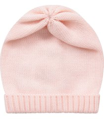 little bear pink babygirl hat with turn-up