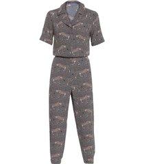 macacão pijama onca shoulder - animal print