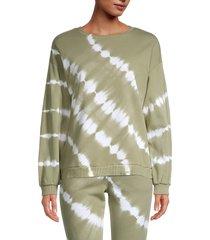 lea & viola women's tie-dye sweatshirt - olive - size m