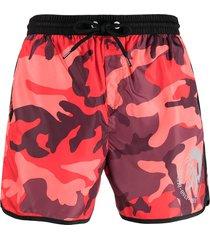 diesel camouflage drawstring swim shorts - red