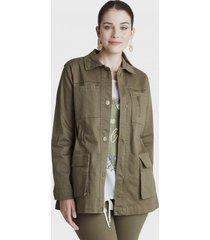 chaqueta manga larga bolsillos verde curvi