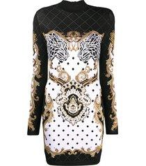 balmain graphic-print structured-shoulders mini dress - black